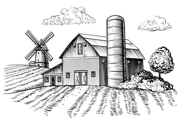 landelijk-landschap-landbouwbedrijfschuur-en-windmolenschets-106558008